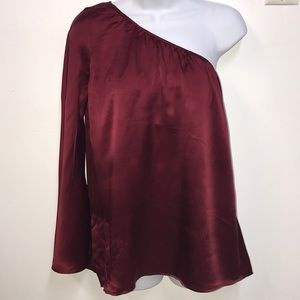 Tops - SEXY Burgundy Silky One Sleeve Top